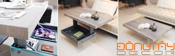 Một bàn trà lịch sự đi kèm bộ sofa trong phòng khách, khi bạn muốn lại biến thành bàn làm việc tiện lợi.