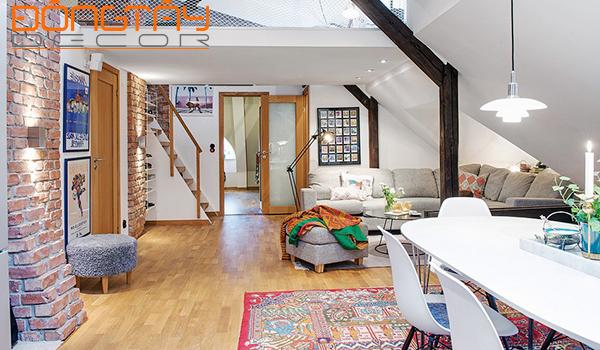 Căn hộ áp mái mộc mạc ấn tượng với phong cách Rustic.