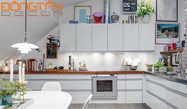 Nội thất phòng bếp gọn gàng, xinh xắn và màu sắc