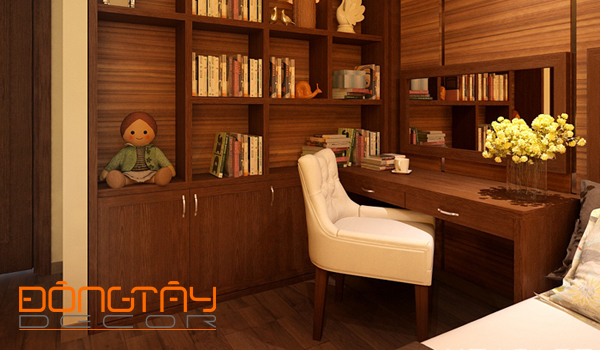 Tủ âm tường với vân gỗ màu nâu đặt trong phòng ngủ