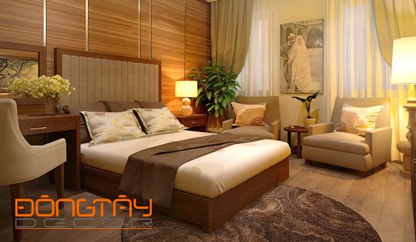 Phòng ngủ lấy màu nâu sáng làm chủ đạo, vừa đơn giản lại hiện đại