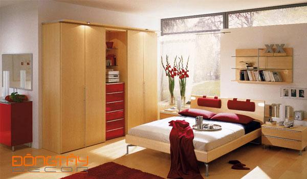 Mẫu phòng ngủ với tông màu chủ đạo là đỏ và trắng #2