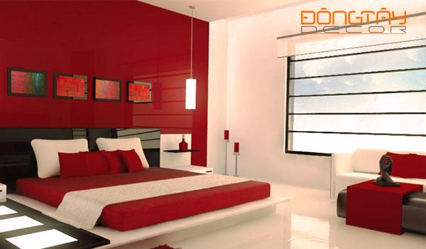 Mẫu phòng ngủ với tông màu chủ đạo là đỏ và trắng #1