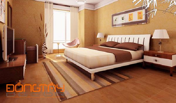 Phòng ngủ có không gian thoáng với màu nâu nhạt chủ đạo