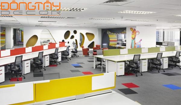 Trang thiết bị, nội thất văn phòng được thiết kế nhiều màu sắcthúc đẩy tính sáng tạo và truyền cảm hứng.