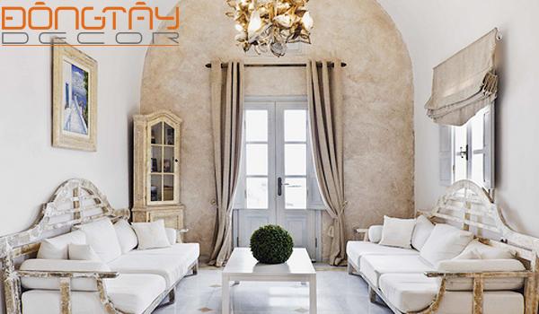 Bộ sofa gỗ màu trắng bạc màu kết hợpvới bàn trà được sơn cẩn thận tạo nên đối lập độc đáo cho căn phòng mà vẫn giữ được nét sang trọng, lịch lãm.