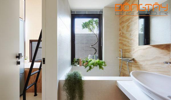 Phòng tắm được bày trí nhiều cây xanh và cửa sổ tạo lên cảm giác thoải mái.