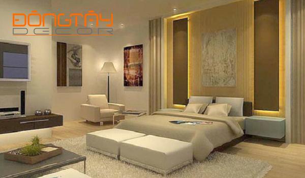 Không gian phòng ngủ với màu vàng ấm đem lại cảm giác ấm áp gần gũi và sinh khí cho gia chủ mệnh Thổ