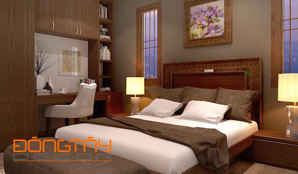 Phòng ngủ gam màu nâu trầm dành cho gia chủ mệnh Thổ thích sự đơn giản, mộc mạc