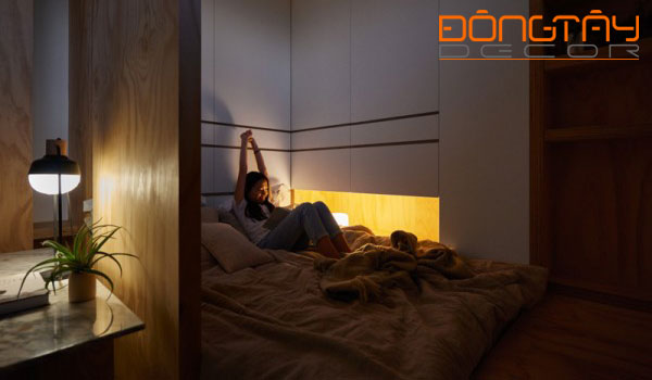 Phòng ngủ được thiết kế nhỏ nhưng vô cùng độc đáo và cuốn hút.